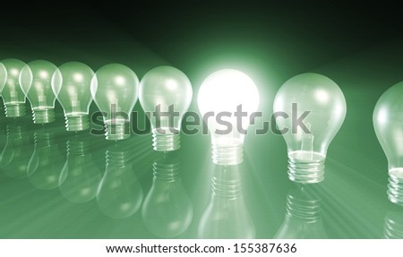 Innovation with Special Light Bulb Lit As Concept - stock photo