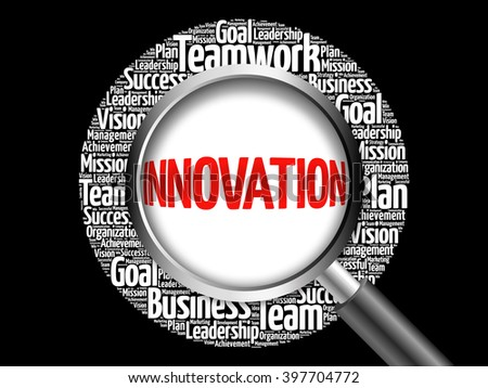 INNOVATION word cloud with magnifying glass, business concept - stock photo