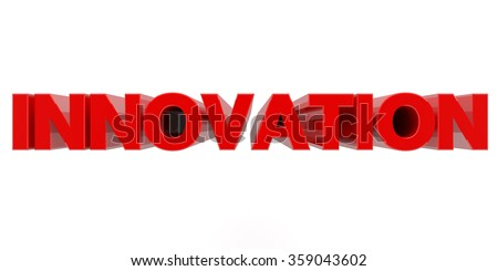INNOVATION word on white background 3d rendering - stock photo