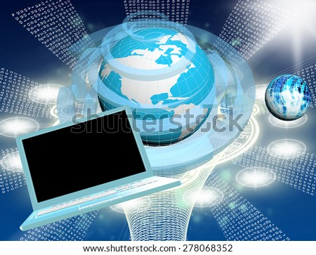 Innovative computer connection technology - stock photo