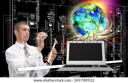 Innovative computer technology  - stock photo
