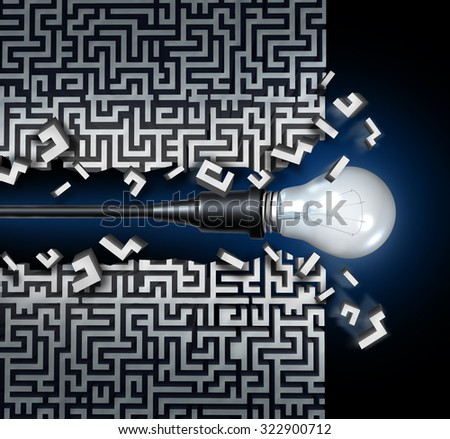 Innovative idea solution concept and new thinking business symbol as a light bulb breaking through a maze or labyrinth as an icon for innovation and invention. - stock photo