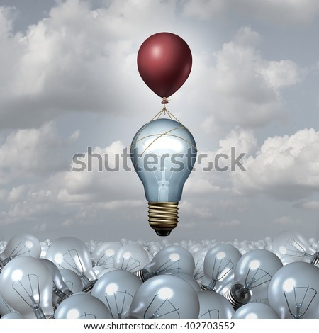 Innovative thinking concept as a group of 3D illustration light bulbs in a vast landscape as one lightbulb rises up with a balloon as a motivation metaphor for creative innovation inspiration.