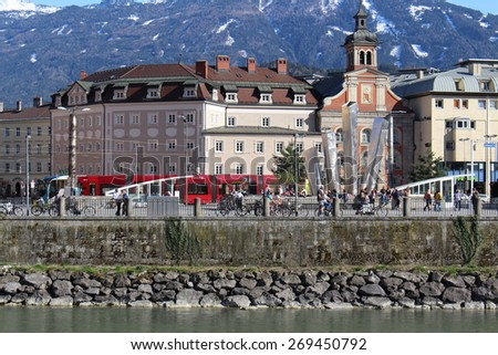 INNSBRUCK, AUSTRIA - APRIL 12: A view of Market Place (Marktplatz) taken from Mariahilfstrasse on April 12, 2015 in Innsbruck.   - stock photo