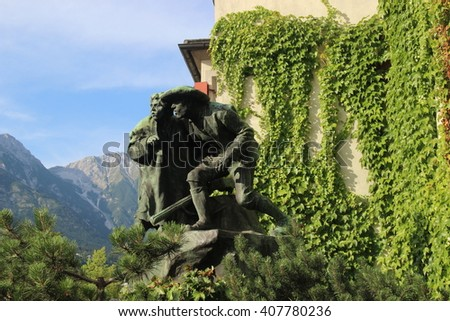 INNSBRUCK, AUSTRIA- 1 August 2015 -Striking statue in Innsbruck, it's made of bronze.Innsbruck is a beautiful city & most of the structures date back to 20 century.