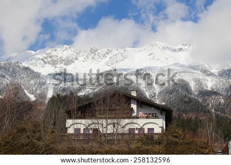 INNSBRUCK, AUSTRIA - MARCH 3: A hotel on Hungerburgweg on March 3, 2015 in Innsbruck. It is located near the Hungerburg Funicular Nordkette station at Hermann Buhl Platz. - stock photo
