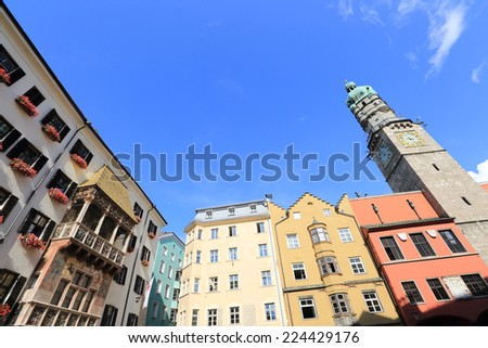 Innsbruck old town and golden roof - stock photo