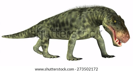 Inostrancevia Reptile on White - Inostrancevia was a carnivorous reptile dinosaur that lived in the Permian Age of Russia.