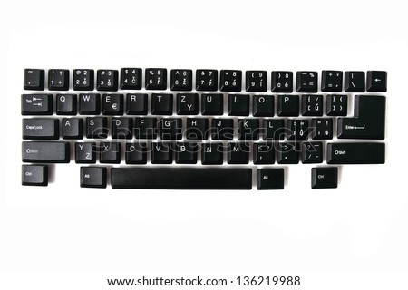 input sphere from black keyboard isolated on the white background