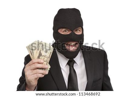Insane Criminal holding money - stock photo