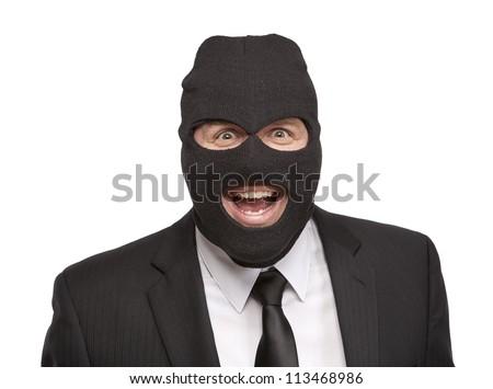 Insane masked businessman - stock photo