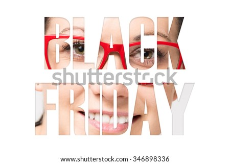 Inscription Black Friday. Pictures in subparagraphs - stock photo
