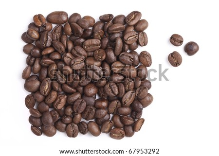 Inscription from the coffee beans - stock photo