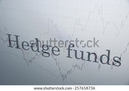 """Inscription """"Hedge funds"""" on PC screen. Financial concept. - stock photo"""