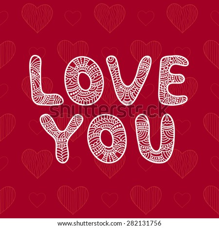 Inscription Love You. Card with funny letters. Raster version - stock photo