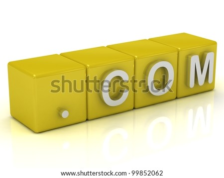 Inscription on the cubes of gold dot com - stock photo