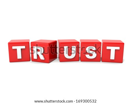 Inscription on the cubes of red,trust - stock photo
