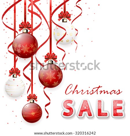 Inscription sale with Christmas balls and tinsel, illustration. - stock photo