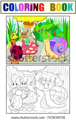 Insects Learn Math Coloring For Children Cartoon Raster Illustration Black White And Colored