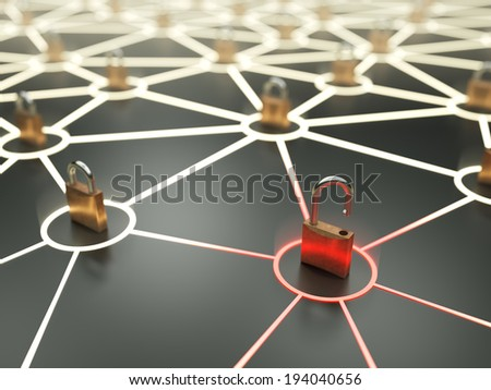 Insecure nod in abstract network - stock photo