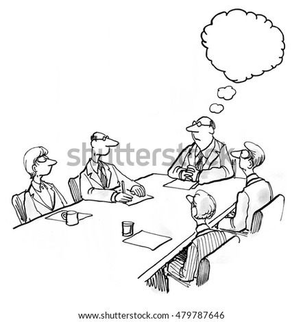 INSERT YOUR OWN TEXT.  Business illustration showing five businesspeople in a meeting and the leader thinking.