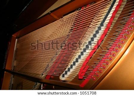 Inside a Baby Grand Piano - stock photo
