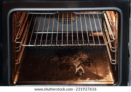 inside a dirty oven  - stock photo