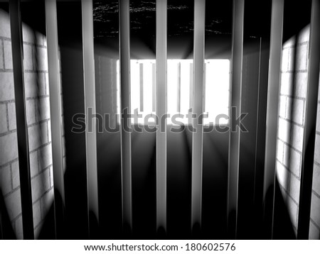 Inside a jail with light coming from outside, 3d render - stock photo