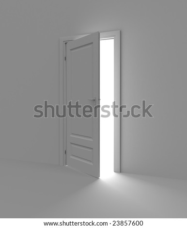 Inside a room with opened door. Light in the end of tunnel. - stock photo
