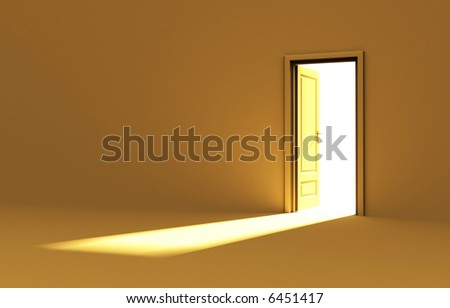 Inside a room with opened door - yellow edition - stock photo