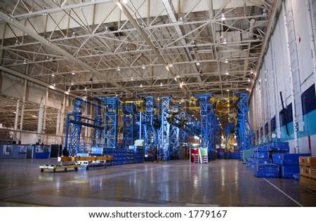 Inside Aerospace Production Facility Bulkhead Wing Jig - stock photo