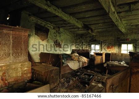 inside an abandoned house - stock photo