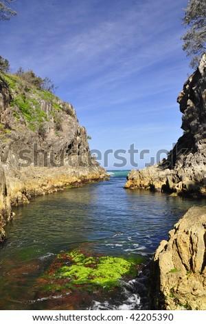 Inside an ocean gorge - stock photo