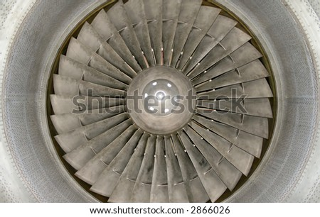 Inside big jet engine blades and motor cone