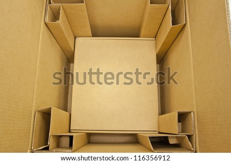 Inside brown color boxes - stock photo