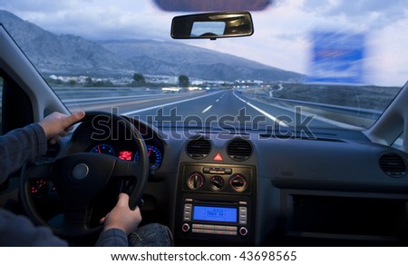 Inside car view at - stock photo