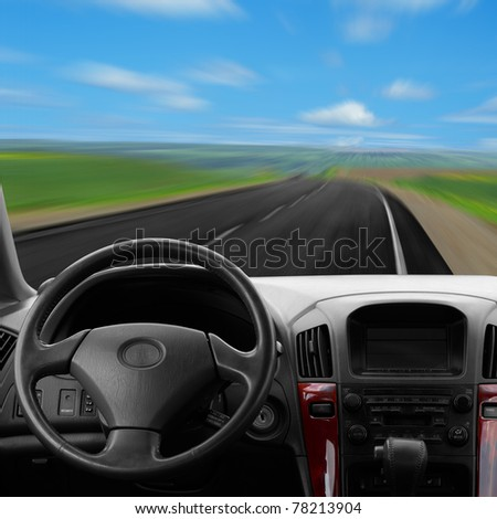 Inside car view at high speed - stock photo