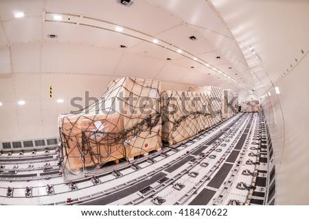 Inside cargo freighter - stock photo