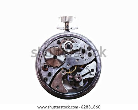 inside clock machine isolated