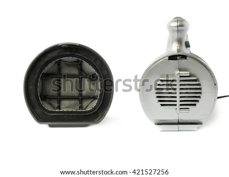 Inside filter of Hand held small vacuum cleaner isolated over the white background