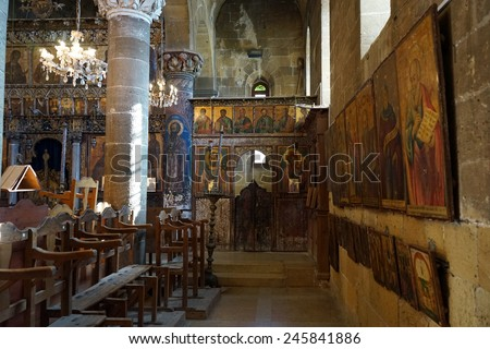 Inside greek church in Guzelurt, North Cyprus                                - stock photo