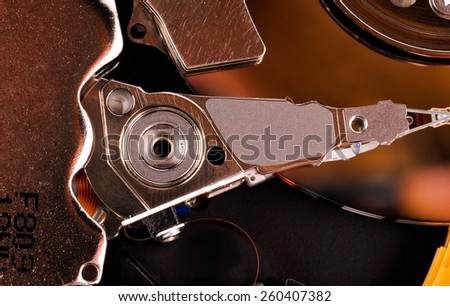 Inside hard disk drive - stock photo