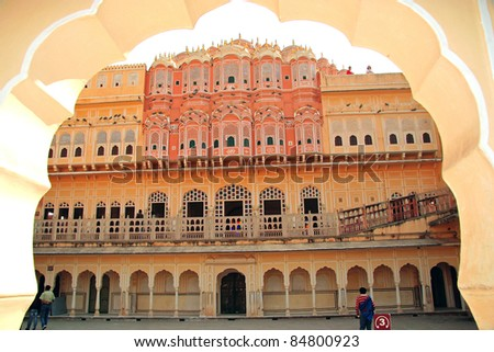 Inside Hawa Mahal in Jaipur, Rajasthan, India. Its 5-storey exterior is akin to the honeycomb of the beehive with its 953 small windows which allowed royal ladies to observe life in the streets. - stock photo