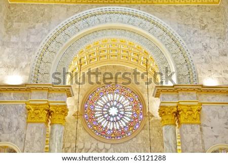 Inside Interior a Catholic Church, Assumption University, Thailand - stock photo