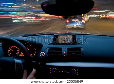 Inside of a car moving very fast, zooming motion - stock photo