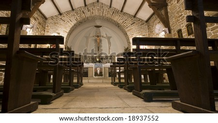 Inside of a Christian Church. Front View - stock photo