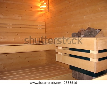 Inside of a new sauna - stock photo