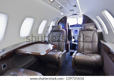 Inside of a small business jet