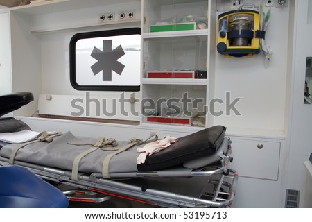 Inside of an ambulance - stock photo