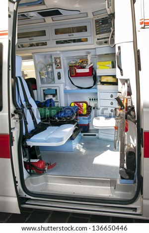 inside of an italian ambulance - stock photo